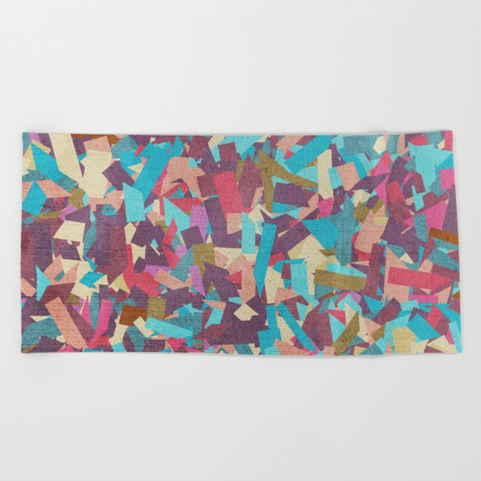 Seamless Colorful Geometric Pattern II Beach Towel