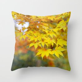Japanese maple in yellow and orange Throw Pillow