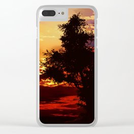 Baum im Abendrot Clear iPhone Case