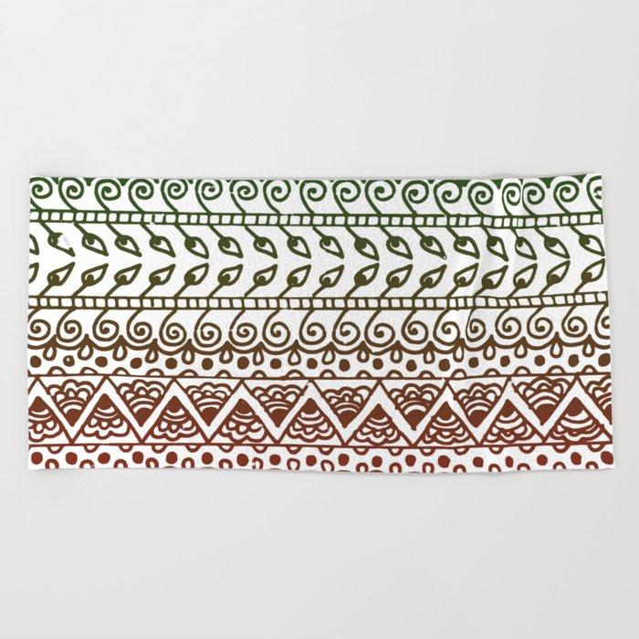 Holiday Henna Pattern Beach Towel