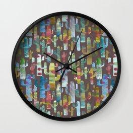 Watercolor Cacti - Browns Wall Clock