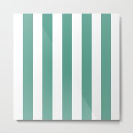 Polished Pine green - solid color - white vertical lines pattern Metal Print