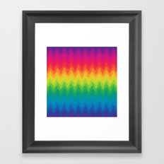 neon rainbow feather chevron  Framed Art Print