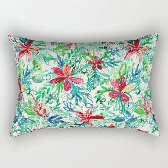 Vintage Tropical Floral - a watercolor pattern Rectangular Pillow