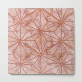 North Star Rose Gold Metal Marble Abstract Metal Print