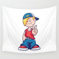 hip hop Wall Tapestries featuring Hip Hop Cartoon Boy by pixaroma