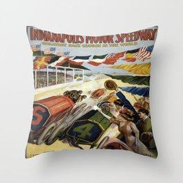 Vintage poster - Indianapolis Motor Speedway Throw Pillow