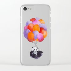 Panda flying with balloons Clear iPhone Case