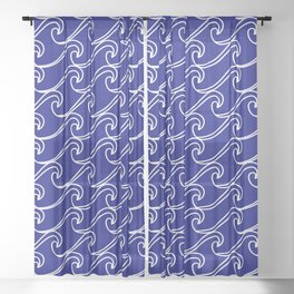 Rough Sea Pattern - white on blue Sheer Curtain