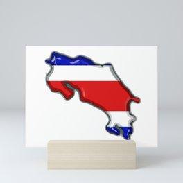 Costa Rica Map with Costa Rican Flag Mini Art Print