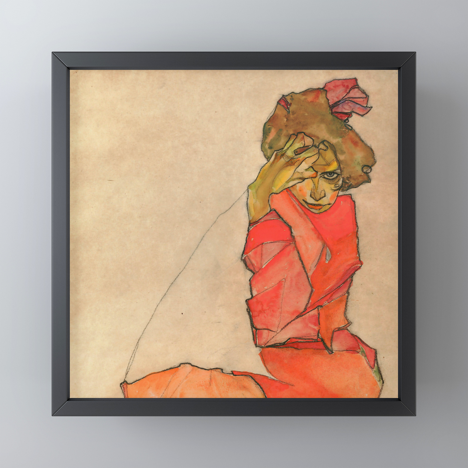Kneeling Female in ORANGE-RED DRESS Egon Schiele donne vestiti Faks /_ B 01624