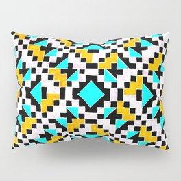 Geometric Inverse Turquoise & Yellow Pillow Sham