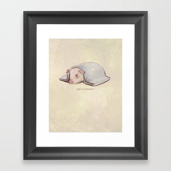 Pigs In Blankets Framed Art Print