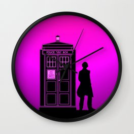 Tardis With The Fifth Doctor Wall Clock