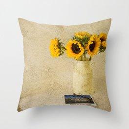 Vintage Sunflowers Throw Pillow