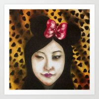 minnie Art Prints featuring minnie by NAME THEGREY