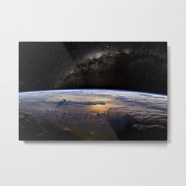 Space Station view of Planet Earth & Milky Way Galaxy Metal Print