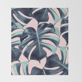 Tropical Monstera Leaves Dream #3 #tropical #decor #art #society6 Throw Blanket