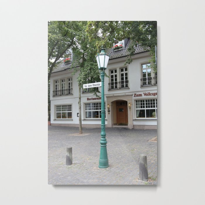 Zons - Straßenlaterne vor dem Rheintor Metal Print by Christine aka stine1 on Society6