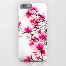 Pink blossoms watercolor painting #1 iPhone Case
