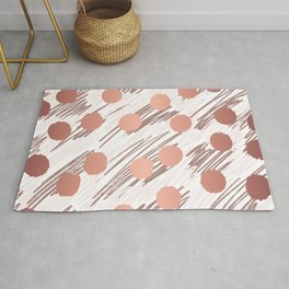 Scratch and Dot abstract minimalist copper metallic art and patterned decor Rug