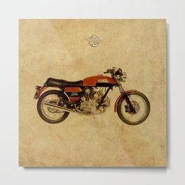 Ducati 750 GT 1973 - Vintage brown background Metal Print