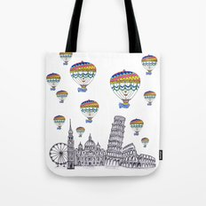 Travel with Air Balloons Tote Bag
