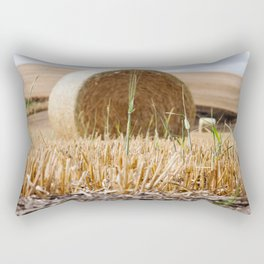 Wheat Bale Photography Print Rectangular Pillow