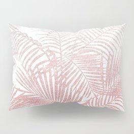 Elegant faux rose gold gradient glitter tropical plants pattern Pillow Sham
