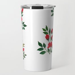 Red Roese ith buds floral Art Travel Mug