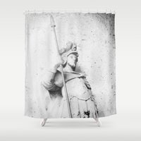 winter soldier Shower Curtains featuring Soldier by courtneeeee
