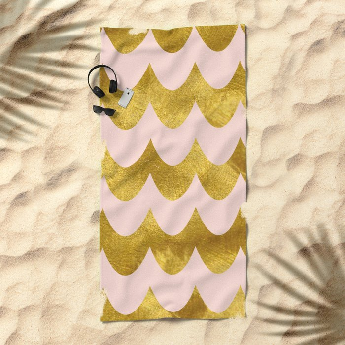 Pink Gold Foil 04 Beach Towel