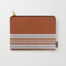 Retro Orange Grey Stripes Carry-All Pouch