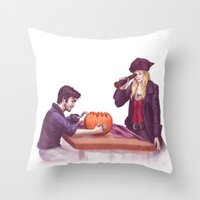 captain swan Throw Pillows featuring Captain Swan Halloween by Svenja Gosen