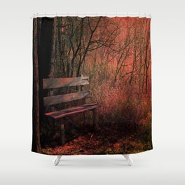 Days Gone By, Forest Landscape Bench Shower Curtain