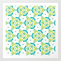 Yellow&blue Art Print