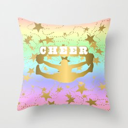 Cheer Silhouette With Stars in Gold and Pastel Rainbow Style 3 Throw Pillow