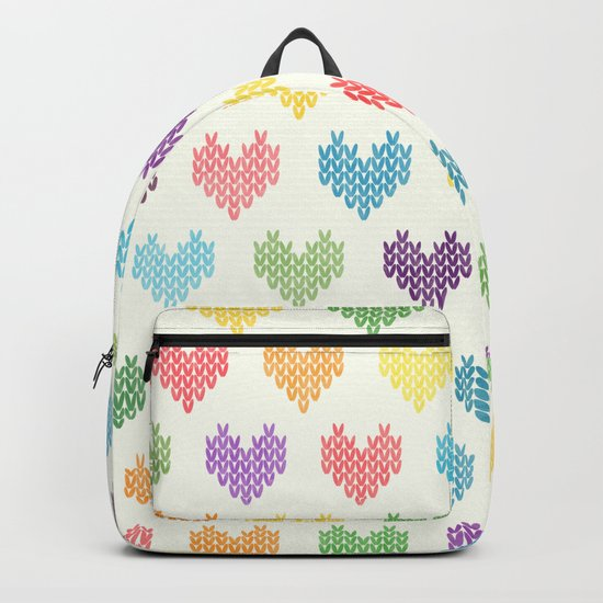 Colorful Knitted Hearts II Backpack