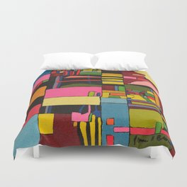Colors in Collision 2 - Geometric Abstract in Blue Yellow Pink and Green Duvet Cover