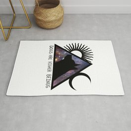Dogs Are Higher Beings Galaxy Dog Sun and Moon Rug