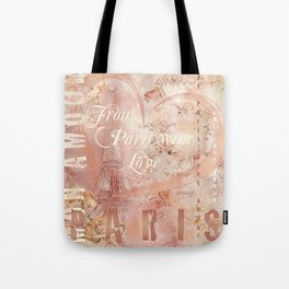 From Paris With Love In Salmon-Rosé Tote Bag