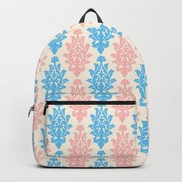 Pastel pink blue vintage chic floral damask pattern Backpack