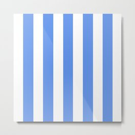 Cornflower blue - solid color - white vertical lines pattern Metal Print