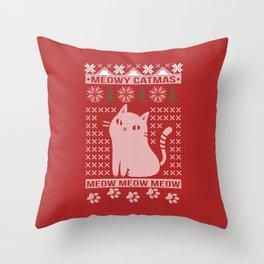 MEOWY CATMAS Throw Pillow