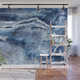 """Travel & nature photography """"details of a rock in blue colors. Abstract fine art mineral print.  Wall Mural"""
