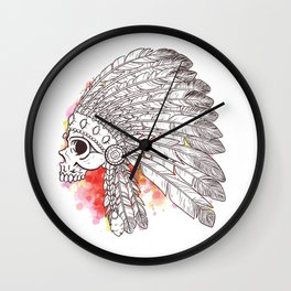 Indian Skull with watercolor Wall Clock