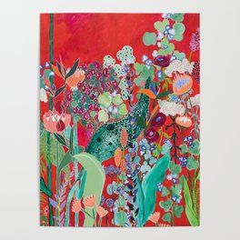 Red floral Jungle Garden Botanical featuring Proteas, Reeds, Eucalyptus, Ferns and Birds of Paradise Poster
