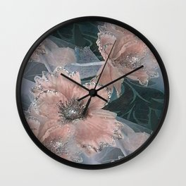 Peach Roses With Silver Glitter Wall Clock