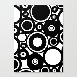 Retro Black White Circles Pop Art Canvas Print