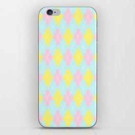 Blue Pink Yellow Pastel Argyle Pattern iPhone Skin